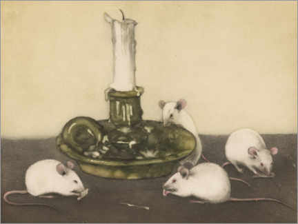 Gallery print  Four mice with a candle holder - Frans Everbag