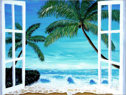 Acrylic print  Window with a view of the Caribbean beach - M. Bleichner
