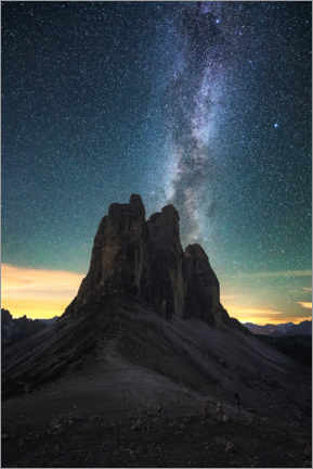 Acrylic print  Milky Way over the Three Peaks, Dolomites - Matthias Köstler