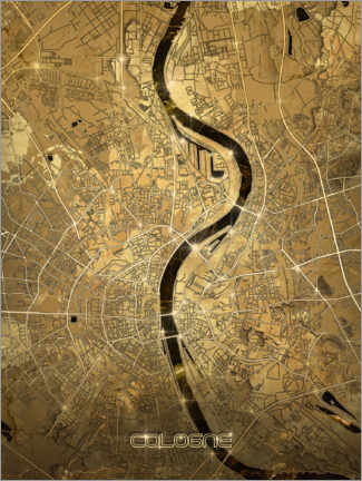 Canvas print  Cologne city map gold - Bekim Mehovic