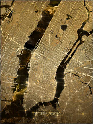Wood print  New york city map gold - Bekim Mehovic
