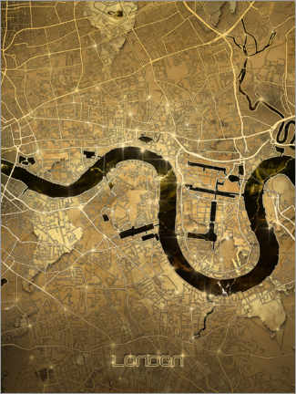 Gallery print  London city map gold - Bekim Mehovic