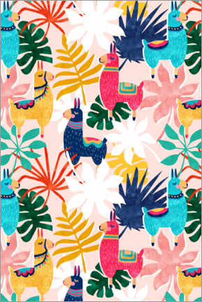 Premium poster Llamas and flowers
