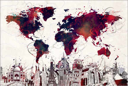 Canvas print  World map skyline red - Bekim Mehovic