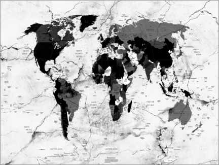 Gallery print  World map marble political - Bekim Mehovic