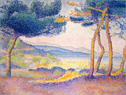Wood print  Pine trees along the coast - Henri Edmond Cross