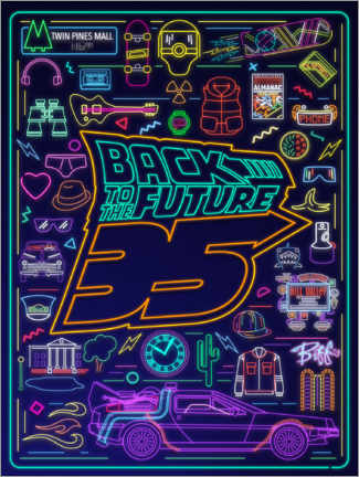 Premium poster  Back to the future - neon items