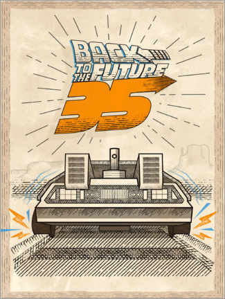 Aluminium print  DeLorean Vintage Illustration