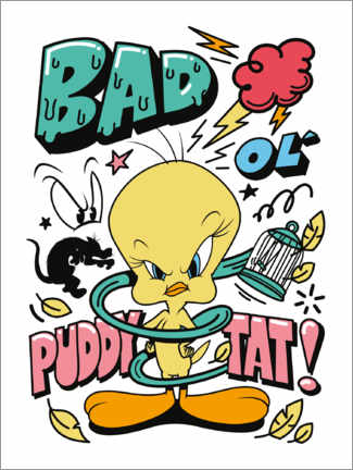 Wood print  Tweety - Bad Ol' Puddy Tat!