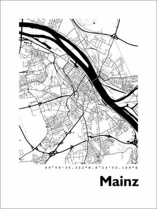 Premium poster Map of Mainz