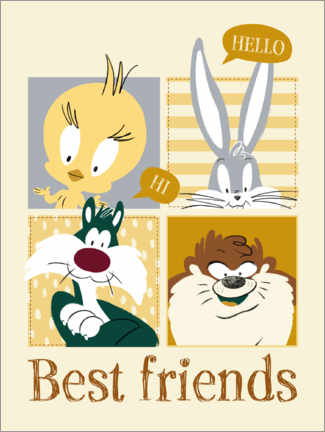 Aluminium print  Looney Tunes - Best friends