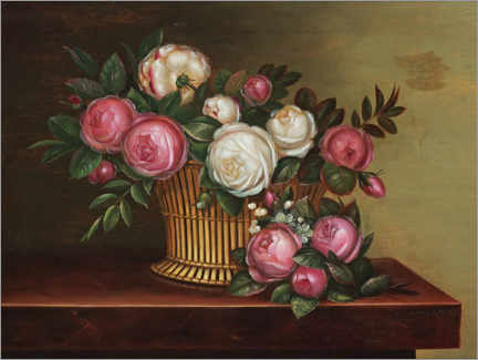 Gallery print  Still life with white and pink roses in a basket - Johan Laurentz Jensen