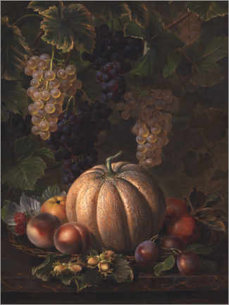 Wall sticker  Still life with melon, apple, plums and nuts - Johan Laurentz Jensen