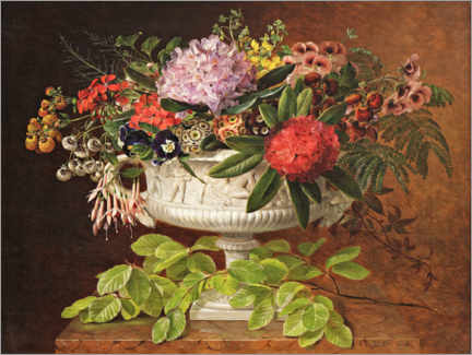 Wood print  Still life with rhododendron and fuchsia - Johan Laurentz Jensen