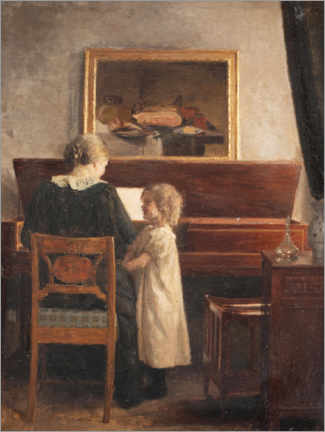 Wood print  At the piano - Peter Vilhelm Ilsted