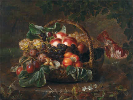Premium poster  Still life with peaches, figs and grapes in a basket - Johan Laurentz Jensen