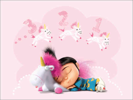 Premium poster  Agnes with fluffy plush unicorn