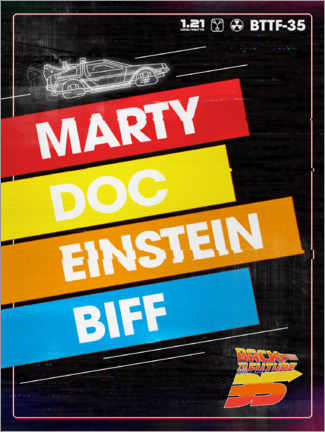 Wall sticker  Marty, Doc, Einstein, Biff