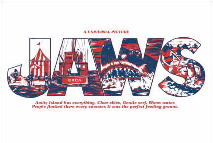 Premium poster  Jaws - Perfect feeding ground, white