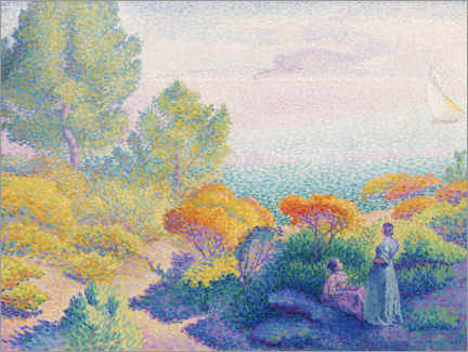 Wood print  Two women on the shores of the Mediterranean - Henri Edmond Cross