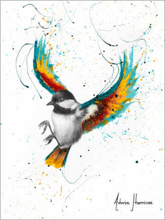 Premium poster Tit with colorful wings