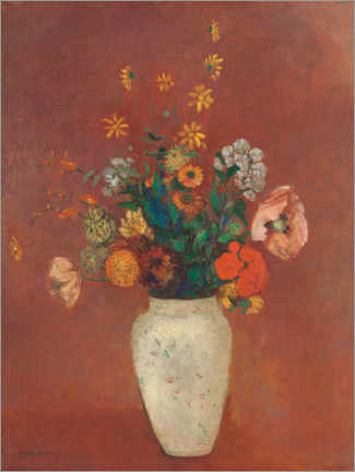 Premium poster Bouquet of flowers in a Chinese vase
