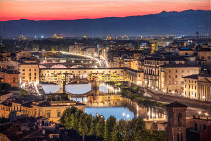 Aluminium print  Sunset in Florence, Ponte Vecchio, Italy - Frank Fischbach