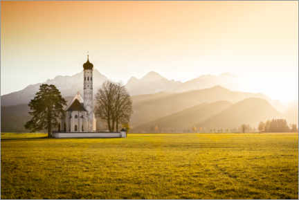 Wall sticker  Church in the foothills of the Alps at sunset (Allgäu) - Frank Fischbach