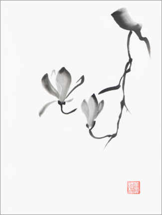 Canvas print  Magnolia branch with two flowers - Oleksiy Maksymenko