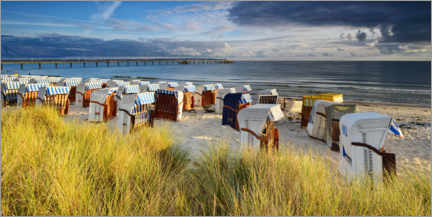 Premium poster Beach chairs on the coast, seaside resort Binz