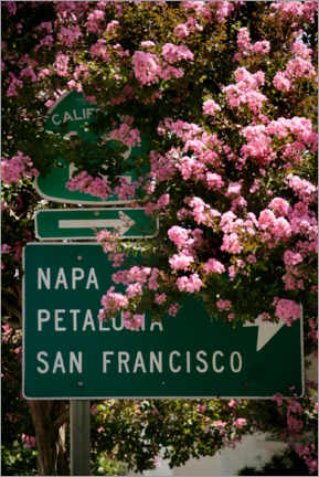 Wood print  Road sign in California - Andreas Weise
