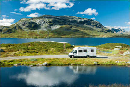 Wall sticker  Camping in Norway by Lake Stavatn - Astrid Lindhjem