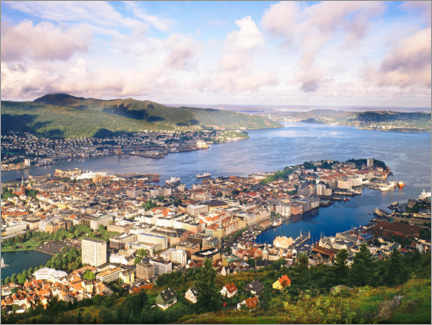 Aluminium print  From Mount Floyen to the old town of Bergen, Norway - Dr. Wilfried Bahnmüller