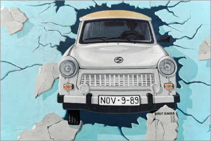 Premium poster Test the best, Trabi breaks through the wall