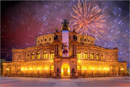 Gallery print  Semperoper with fireworks - Michael Weber