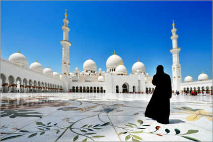 Gallery print  Veiled woman in front of the Sheikh Zayed Mosque - Norbert Eisele-Hein