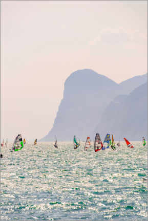 Gallery print  Windsurfer with colorful sails, Lake Garda - Moritz Wolf