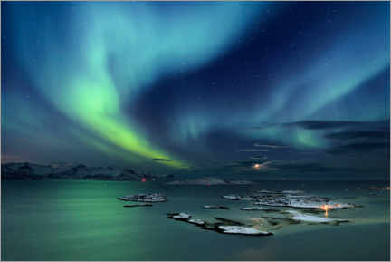 Gallery print  Fjord with islands in winter and northern lights - Robert Seitz