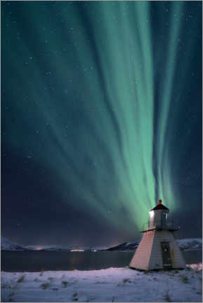 Wood print  Northern lights over fjord with lighthouse in winter - Robert Seitz