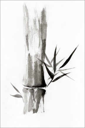Acrylic print  Bamboo stem with leaves