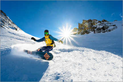 Premium poster  Snowboarder with splitboard rides in the snow - Moritz Wolf