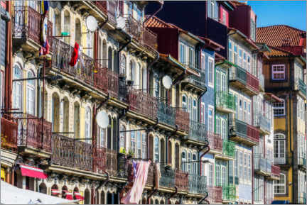 Premium poster Colorful house facades with balconies, Ribeira