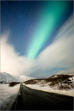 Canvas print  Northern lights over road with snow mountains - Stefan Arendt