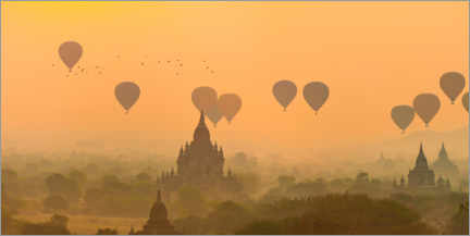 Wood print  Pagodas with hot air balloons - Valentin Wolf