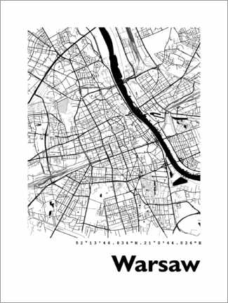 Premium poster  City map of Warsaw - 44spaces