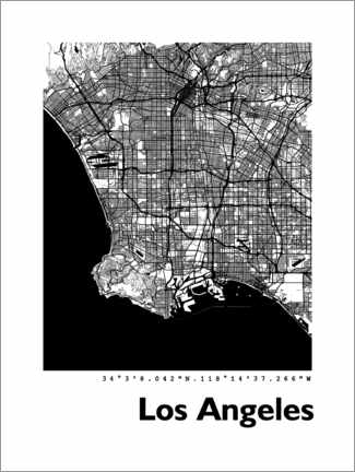 Premium poster  Los Angeles city map - 44spaces