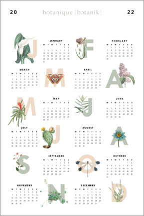 Wood print  Vintage flowers - calendar 2021 - Typobox