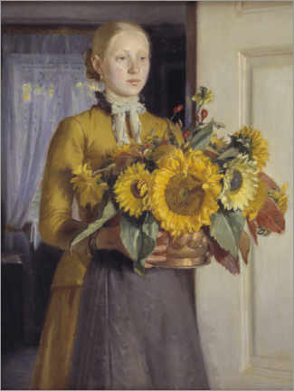 Foam board print  The girl with the sunflowers - Michael Peter Ancher
