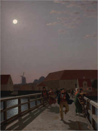 Gallery print  Langebro, Copenhagen, in the moonlight - Christoffer Wilhelm Eckersberg