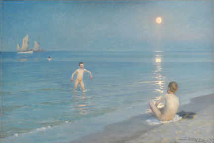 Aluminium print  Boys bathing on a summer evening on Skagen beach - Peder Severin Krøyer